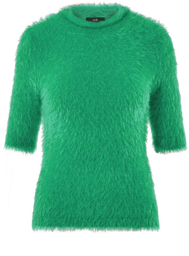 Джемпер ворсистый с коротким рукавом oodji для женщины (зеленый), 63807270-1/45514/6D00N
