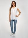 Блузка с короткими рукавами и нагрудными карманами oodji #SECTION_NAME# (белый), 21412132-2B/24681/1200N - вид 6