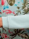 Свитшот комбинированный с принтованной полочкой oodji для женщины (бирюзовый), 14807018-1/43623/7300N