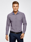 Рубашка хлопковая в мелкую графику oodji #SECTION_NAME# (фиолетовый), 3L110279M/19370N/8310G - вид 2