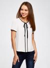 Блузка с коротким рукавом и контрастной отделкой oodji #SECTION_NAME# (белый), 11401254/42405/1200N - вид 2