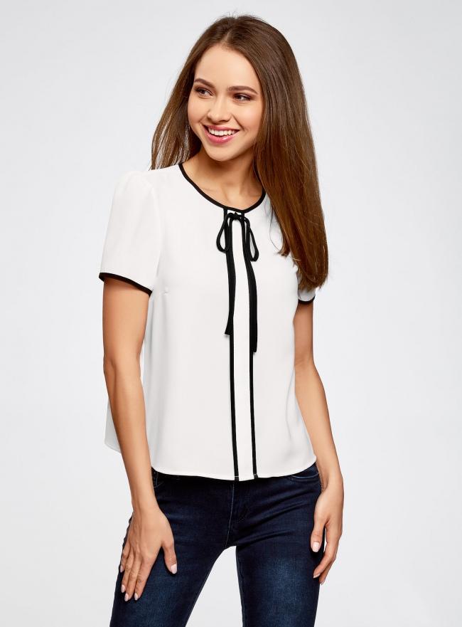 Блузка с коротким рукавом и контрастной отделкой oodji #SECTION_NAME# (белый), 11401254/42405/1200N