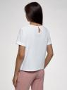 Блузка хлопковая свободного силуэта oodji для женщины (белый), 13K01008-1/48131/1212D