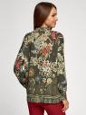 Блузка свободного силуэта с цветочным принтом oodji #SECTION_NAME# (зеленый), 21411109/46038/6819F - вид 3