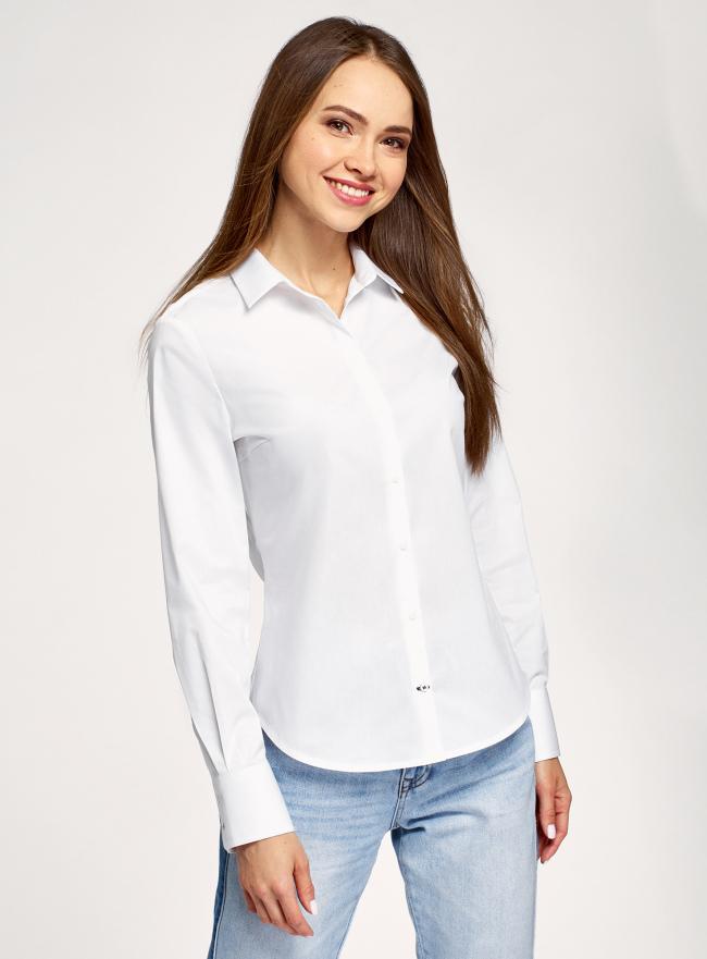 Рубашка хлопковая базовая oodji для женщины (белый), 13K03001-1B/14885/1000N