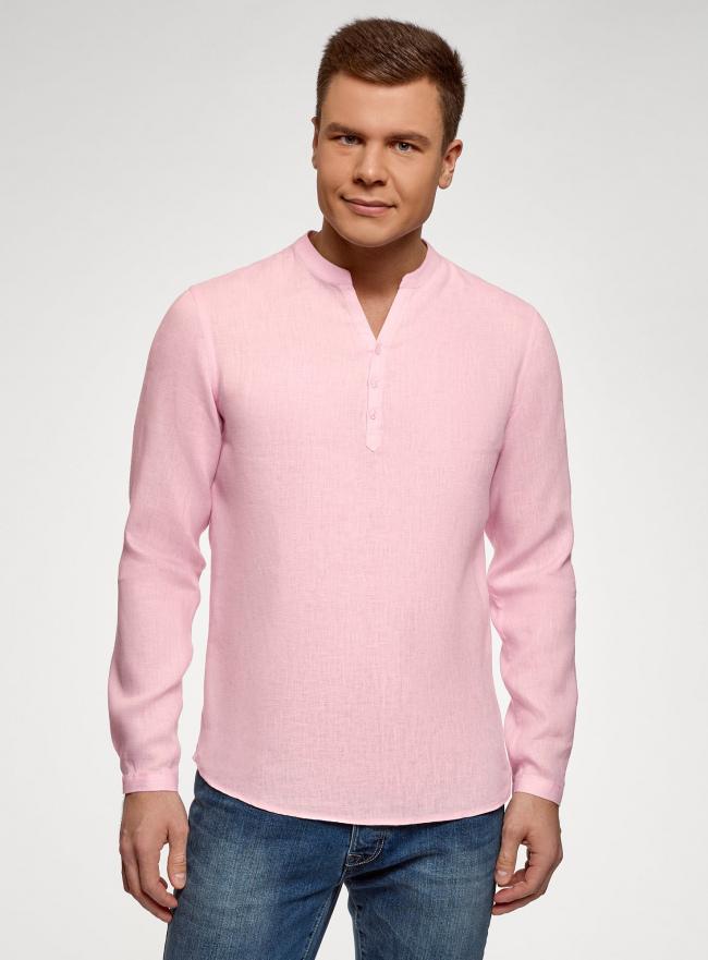 Рубашка льняная без воротника oodji #SECTION_NAME# (розовый), 3B320002M/21155N/4001N