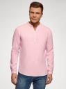 Рубашка льняная без воротника oodji #SECTION_NAME# (розовый), 3B320002M/21155N/4001N - вид 2