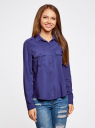 Блузка базовая из вискозы с нагрудными карманами oodji #SECTION_NAME# (синий), 11411127B/26346/7500N - вид 2