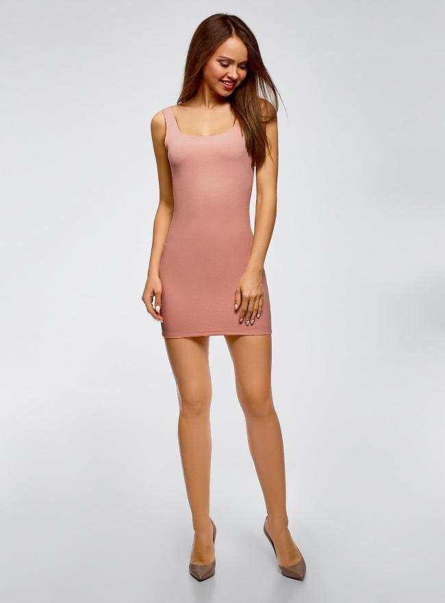 Платье-майка трикотажное облегающее oodji для женщины (розовый), 14001210/48152/4B00N