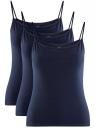Комплект маек на тонких бретелях (3 штуки) oodji для женщины (синий), 14305023T3/46147/7900N