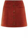 Юбка-трапеция из искусственной замши с заклепками oodji для женщины (красный), 18H05002/45778/4500N