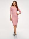 Платье в рубчик с рукавом 3/4 oodji #SECTION_NAME# (розовый), 14001196/46412/4101N - вид 2