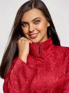 Пальто прямого силуэта из фактурной ткани oodji #SECTION_NAME# (красный), 10104043/43312/4500N - вид 4