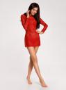 Платье кружевное с вырезом-лодочкой oodji для женщины (красный), 59801010/46001/4500N