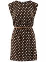 Платье принтованное из вискозы oodji #SECTION_NAME# (коричневый), 11910073-2/45470/3912D