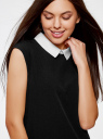 Платье без рукавов с воротничком oodji #SECTION_NAME# (черный), 11911006/42354/2900N - вид 4