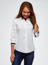 Блузка хлопковая с рукавом 3/4 oodji #SECTION_NAME# (белый), 13K03005B/26357/1000B - вид 2