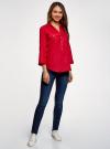 Блузка льняная с карманами oodji #SECTION_NAME# (красный), 21412145/42532/4500N - вид 6