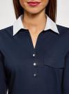 Блузка хлопковая с нагрудным карманом oodji #SECTION_NAME# (синий), 13K03017/26357/7910B - вид 4
