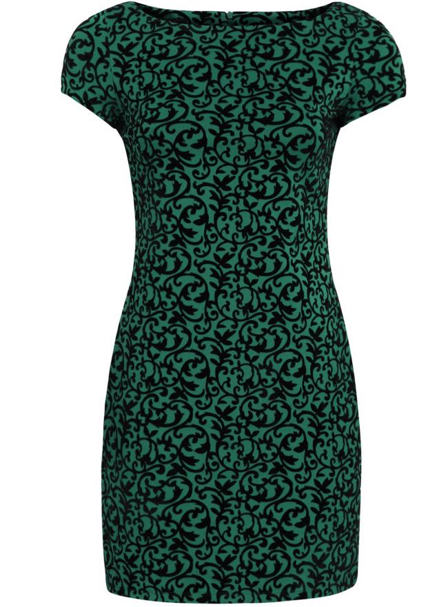 Платье облегающее с вырезом-лодочкой oodji для женщины (зеленый), 14001117-3/33038/6D29E
