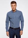 Рубашка приталенного силуэта принтованная oodji #SECTION_NAME# (синий), 3L110260M/19370N/1079G - вид 2
