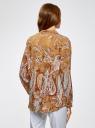 Блузка из вискозы с принтом oodji #SECTION_NAME# (бежевый), 21411144-4/26346/5762E - вид 3
