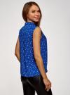 Топ базовый из струящейся ткани oodji для женщины (синий), 14911006-2B/43414/7510O - вид 3