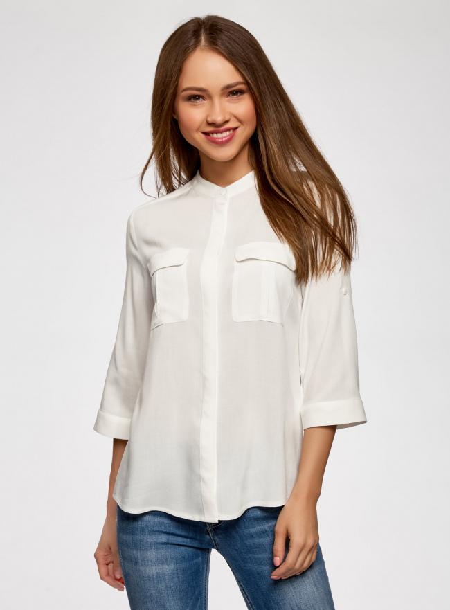 Блузка вискозная с регулировкой длины рукава oodji #SECTION_NAME# (белый), 11403225-3B/26346/1200N