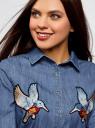 Рубашка джинсовая с нашивками oodji #SECTION_NAME# (синий), 16A09007/47925/7500W - вид 4