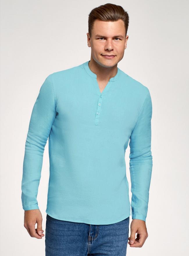 Рубашка льняная без воротника oodji для мужчины (бирюзовый), 3B320002M/21155N/7300N