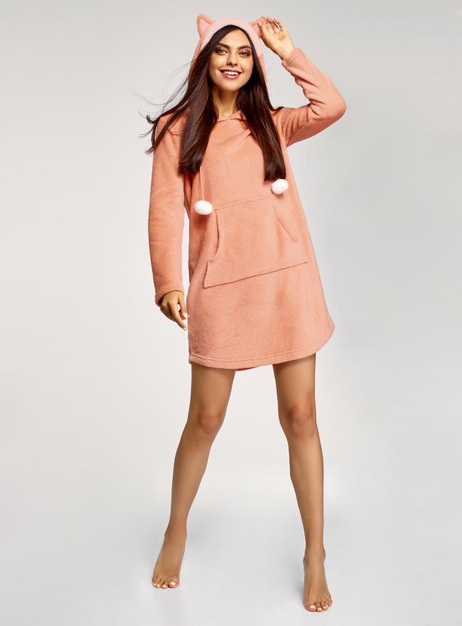 Платье домашнее с капюшоном oodji для женщины (оранжевый), 59801020-1/24018/4312P