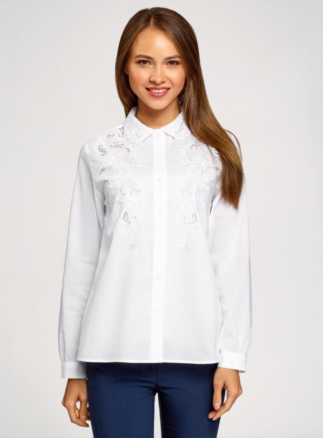 Рубашка хлопковая свободного силуэта oodji #SECTION_NAME# (белый), 13K11019/12836/1000N