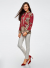 Блузка из струящейся ткани с принтом oodji #SECTION_NAME# (красный), 21411144-3/35542/4939E - вид 6
