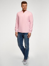 Рубашка льняная без воротника oodji #SECTION_NAME# (розовый), 3B320002M/21155N/4001N - вид 6