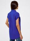 Блузка с короткими рукавами и карманами на пуговицах oodji для женщины (синий), 11400391-2B/24681/7500N - вид 3