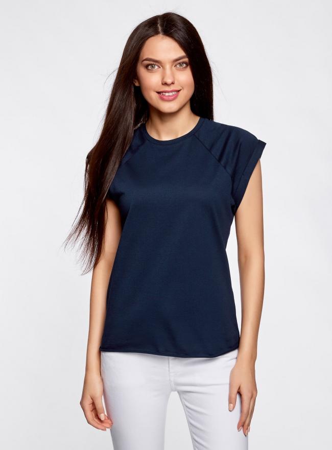 Комплект из двух хлопковых футболок oodji для женщины (синий), 14707001T2/46154/7940S