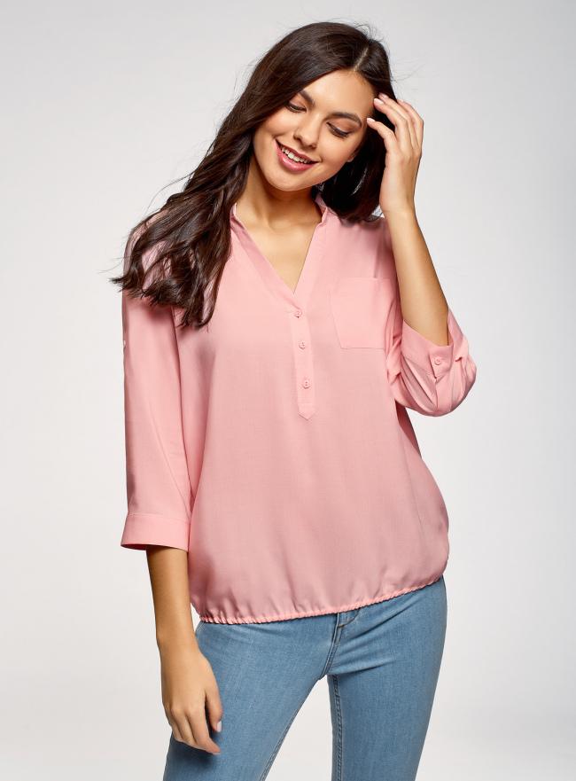 Блузка вискозная с рукавом-трансформером 3/4 oodji для женщины (розовый), 11403189-3B/26346/4000N