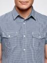 Рубашка с коротким рукавом и нагрудными карманами oodji #SECTION_NAME# (синий), 3L410072M/44182N/1075C - вид 4