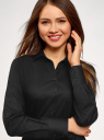 Рубашка хлопковая базовая oodji для женщины (черный), 13K03001-1B/14885/2900N