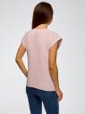 Футболка свободного кроя с принтом oodji для женщины (розовый), 14707001-36/46154/4019P