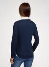 Блузка хлопковая с нагрудным карманом oodji #SECTION_NAME# (синий), 13K03017/26357/7910B - вид 3