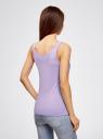 Топ хлопковый с люверсами oodji для женщины (фиолетовый), 14305032/46159/8000N