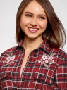 Рубашка клетчатая с вышивкой oodji для женщины (красный), 13L11018/48749/4529C