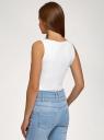 Топ из эластичной ткани на широких бретелях oodji для женщины (белый), 24315002-3B/45297/1000N