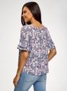 Блузка свободного силуэта с воланами на рукавах oodji #SECTION_NAME# (розовый), 11400450-1/36215/4080E - вид 3