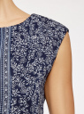 Платье принтованное из шифона oodji для женщины (синий), 11900154-3/13632/7512F