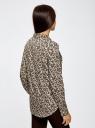 Блузка принтованная из вискозы oodji для женщины (коричневый), 11411087/43606/1233E