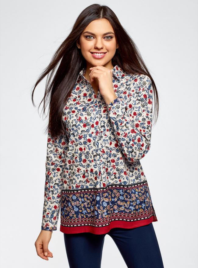 Блузка принтованная из легкого хлопка oodji #SECTION_NAME# (разноцветный), 21411144-5M/12836/1219E