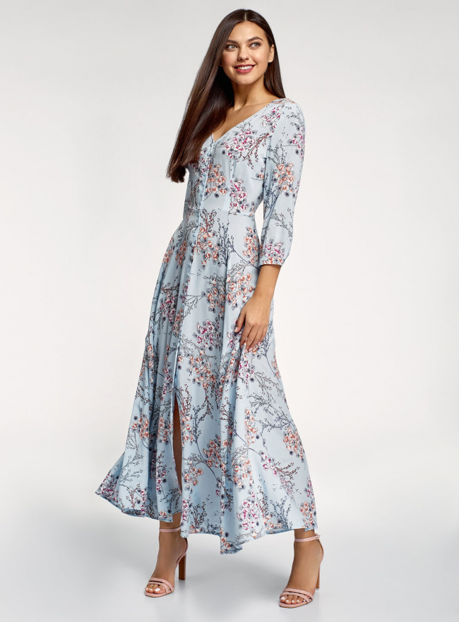 Платье макси на пуговицах oodji для женщины (синий), 11901148/24681/7054F