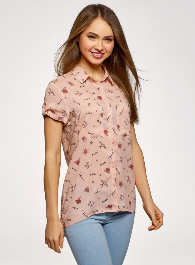 Блузка из вискозы с нагрудными карманами oodji #SECTION_NAME# (розовый), 11400391-5B/48756/4041O